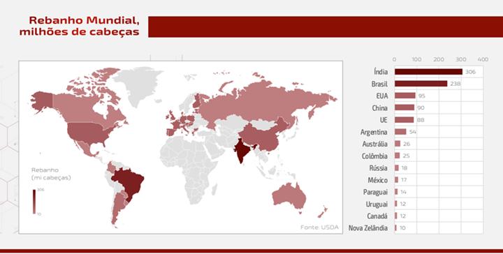 Gráfico do número de rebanho mundial - artigo sobre carne bovina