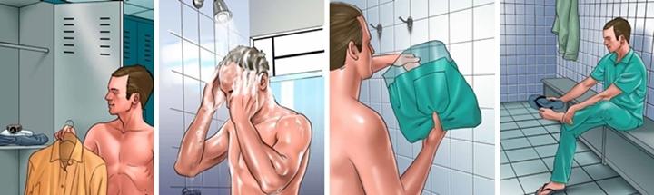 imagem mostrando tomo o procedimento de banho, parte dos cuidados das medidas de biossegurança