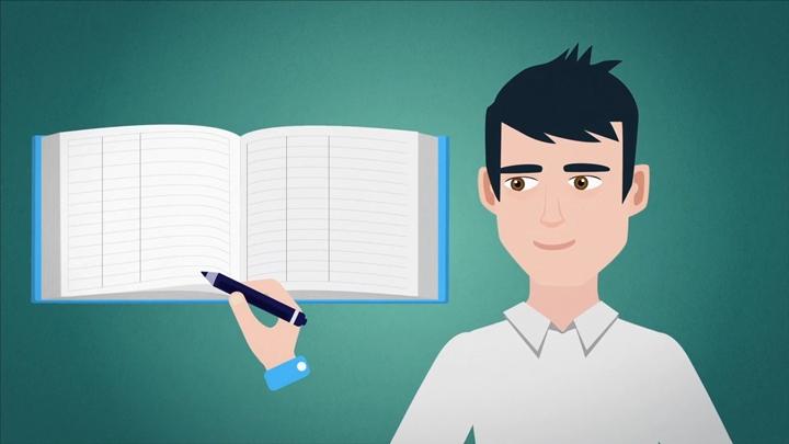 Um desenho que se refere ao caderno de visitas, controle de pessoas que visitam a granja, como parte da medida de biossegurança