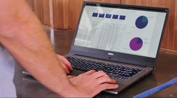 Tela de computador mostrando gráficos e dados de um software