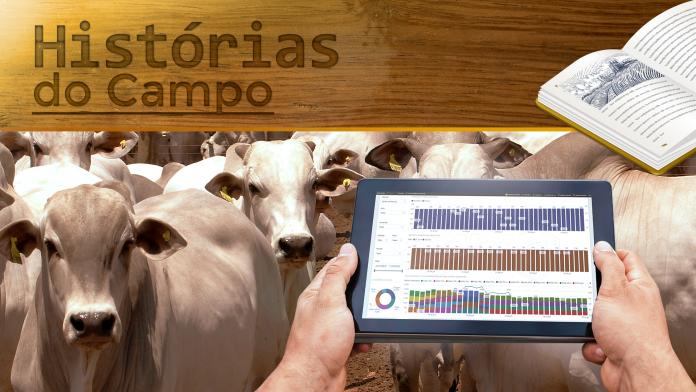 Capa de artigo com título Histórias do Campo, bovinos de fundos e uma mão de uma pessoa com um tablet mostrando dados gráficos de um software