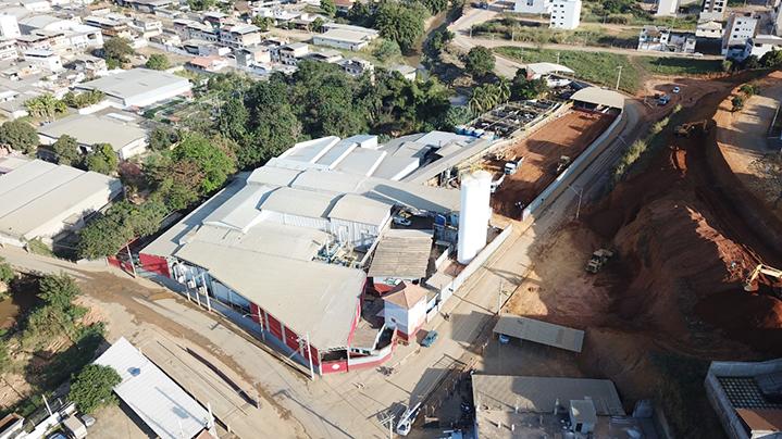 Vista área do Frigorífico Cruzeiro do Sul, pertencente à família