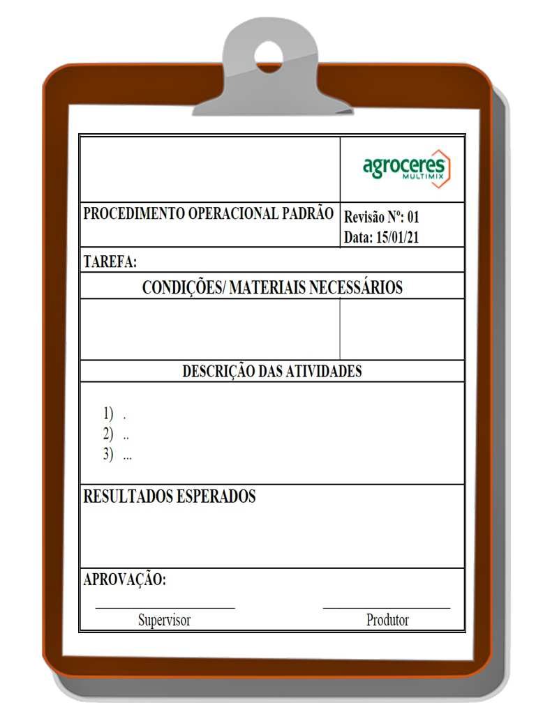 Exemplo de documento de procedimento operacional padrão que faz parte do processo das boas práticas de fabricação (BPF)