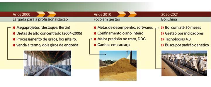 Tabela dos anos 2000, 2010, 2020 e 2021 com largada para profissionalização, foco em gestão e boi china